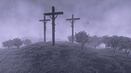 Jesus on cross, time lapse clouds and stormy weather, tilt Animation