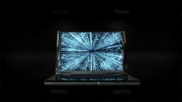 Laptop with Matrix on display, zoom in, Alpha Channel Animation