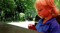 Little boy enjoying an icecream Footage