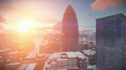 London time lapse sunrise, Swiss Reinsurance Headquarters, The Gherkin, snowing Animation
