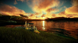 Man swimming in a lake surrounded by mountains, camera lifting, sunset Animation
