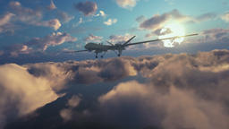Military Drone launching missiles, above morning clouds, zoom in Animation