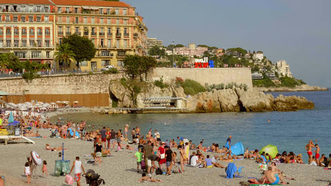 Beautiful Riviera and Beach of Nice at the Cote D Azur - CITY OF NICE, FRANCE - Live Action