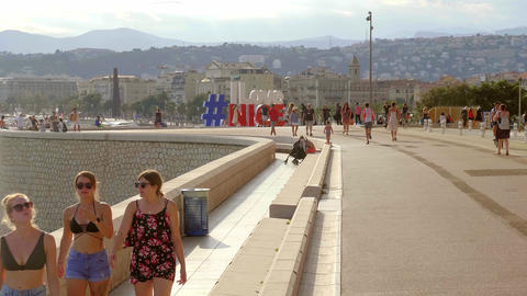 Beautiful promenade in Nice at the Cote D Azur - CITY OF NICE, FRANCE - JULY 10 Live Action