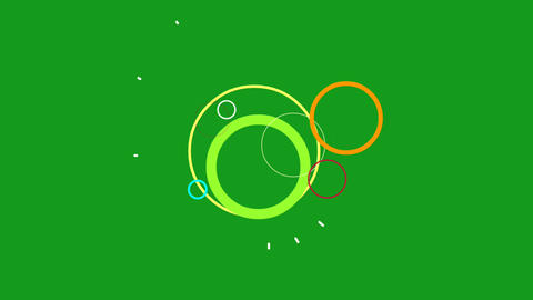 Colourful circles motion graphics with green screen background Animation