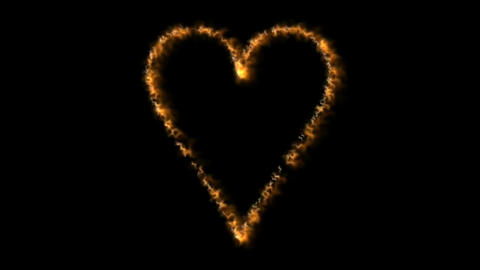 Fire heart motion graphics with night background Animation