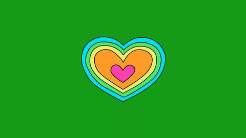 Heart shape motion graphics with green screen background Animation