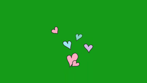 Heart shapes motion graphics with green screen background Animation