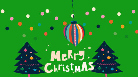 Merry christmas motion graphics with green screen background Animation