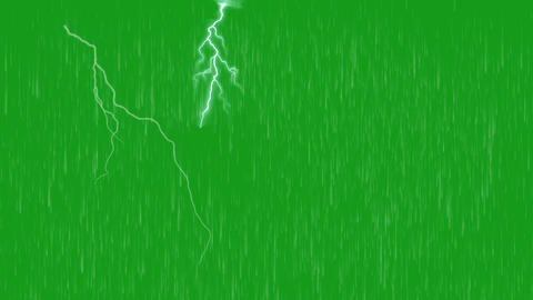 Rainfall and lighting bolt with green screen background Animation