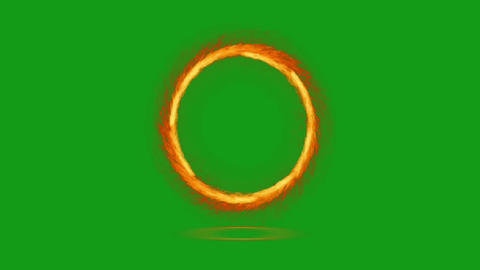 Fire circle motion graphics with green screen background CG動画