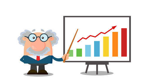 Professor Or Scientist Cartoon Character With Pointer Presenting A Progressive Chart CG動画
