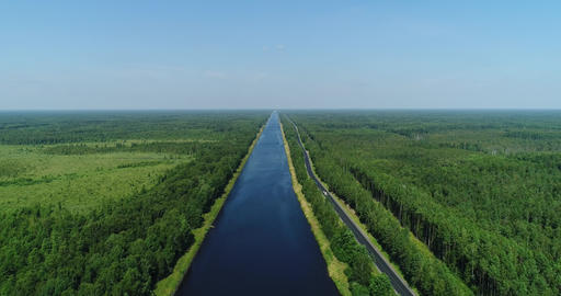 Aerial view calm water channel, Moscow Canal connects the Moskva River with the Volga River 4K Live Action