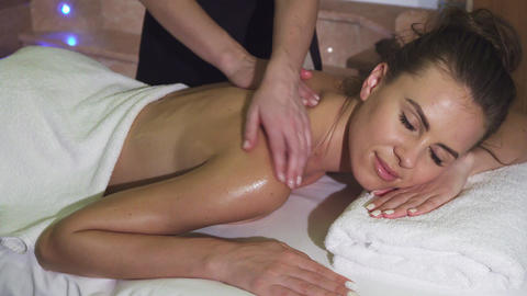 In the spa salon the girl receives a thorough care and relaxation Live Action
