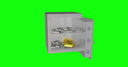 8 animations 3d safe personal box personal security safe gold ingots box gold ingots security gold Animation