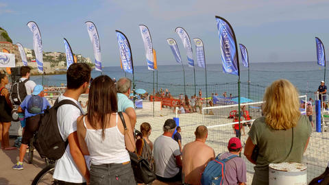 Beach volleyball in the city of Nice - CITY OF NICE, FRANCE - JULY 10, 2020 Live Action