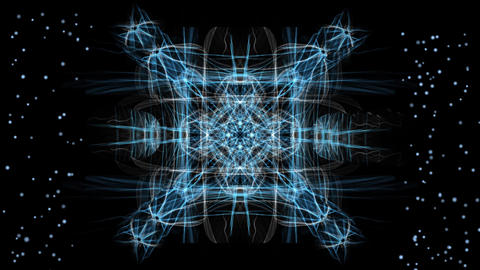 Blue and white magic patterns in tunnel motion, small blinking blue dots Animation