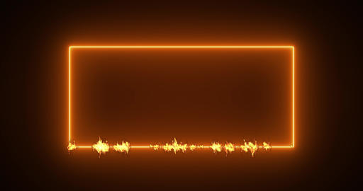Fire banner frame flame rectangle orange light border Fire flame frame banner rectangle banner light Animation