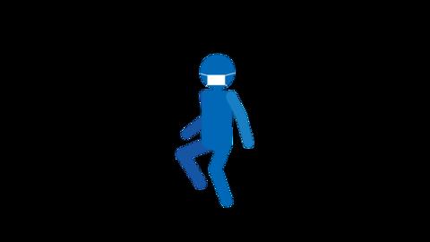 リズミカルに歩く ピクトグラム人物(マスク付き) ループアニメ CG動画