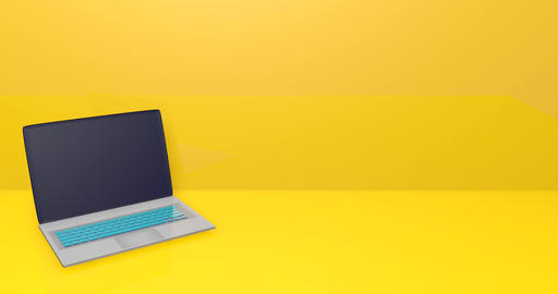 3d laptop black notebook laptop background yellow background notebook yellow background laptop Animation