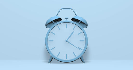 Blue clock hour alarm twin bell hour time hour clock alert alarm alert time alert clock wind up Animation