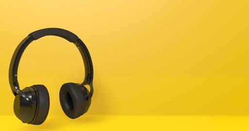 Black headphones audio music earphone listen sound dj animation headphones earphone music audio Animation