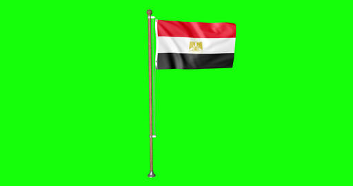 flag egyptian pole egyptian Egypt egyptian flag waving pole waving Egypt waving flag green screen Animation