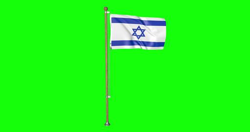 flag israeli pole israeli Israel israeli flag waving pole waving Israel waving flag green screen Animation