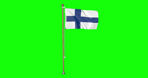 flag finnish pole finnish Finland finnish flag waving pole waving Finland waving flag green screen Animation