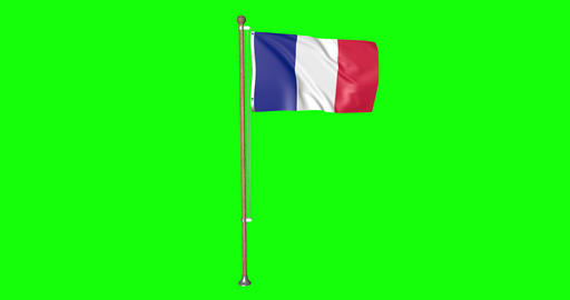 flag french pole french France french flag waving pole waving France waving flag green screen pole Animation
