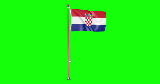 flag croatian pole croatian Croatia croatian flag waving pole waving Croatia waving flag green Animation