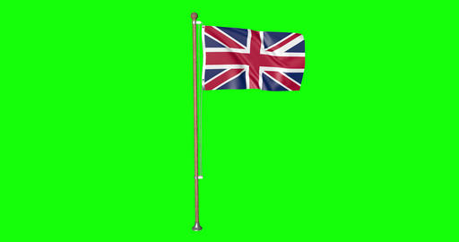 flag UK Britain pole UK Britain United Kingdom UK Britain flag waving pole waving United Kingdom Animation