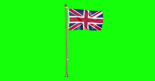 flag UK Britain pole UK Britain United Kingdom UK Britain flag waving pole waving United Kingdom Animation