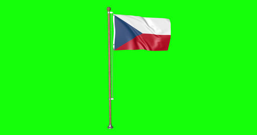 flag czechia pole czechia Czech czechia flag waving pole waving Czech waving flag green screen pole Animation