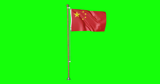 flag chinese pole chinese China chinese flag waving pole waving China waving flag green screen pole Animation