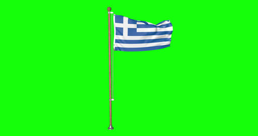 flag greek pole greek Greece greek flag waving pole waving Greece waving flag green screen pole Animation