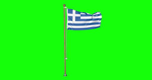 flag greek pole greek Greece greek flag waving pole waving Greece waving flag green screen pole Animation