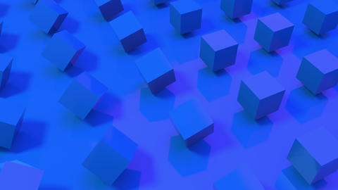 Seamless loop of 3D blue cubes rotating on a royal blue background. Space to put your text. Textless Animation