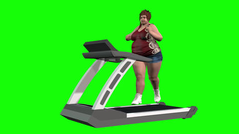 825 4K HEALTH WEIGHT EXERSIZE 3D computer generated morph fat girl on tread mill to reduce weight CG動画