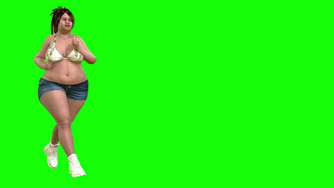 833 4K HEALTH 3D computer generated fat morth girl run and reduce weight Animation