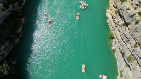 Boats on Verdon River in France - famous landmark Live Action