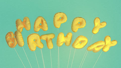 Happy Birthday gold glitter Mylar balloons springing up and swaying string Animation