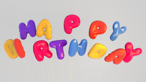 Colorful inflated floating Happy Birthday letter balloons. Fun greeting for kids or adults Animation