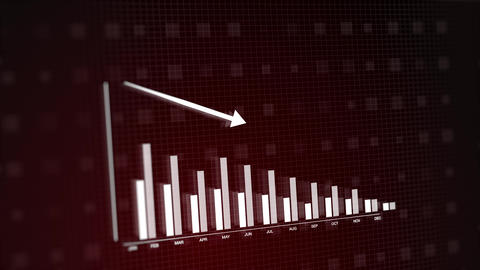 Red on black modern 3D animation of 2D vector graphic of bar graph chart plummeting. Depiction of Animation