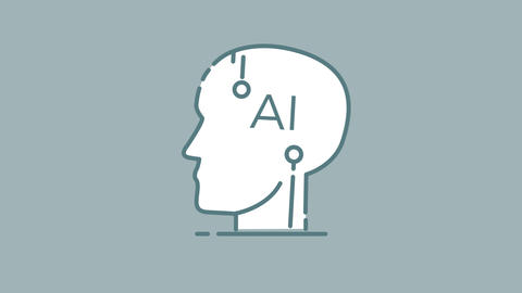 AI Human Head line icon on the Alpha Channel Animation