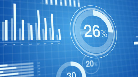 3D animated bar graphs and pie charts slick, clean, elegant white on blue background. Great for Animation