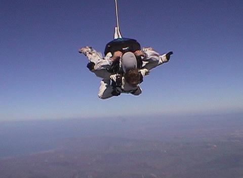 Tandem skydivers free fall Live Action