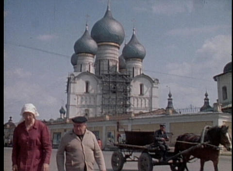 A street scene in Moscow from the 1970's with Russian citizens walking in the cold Footage