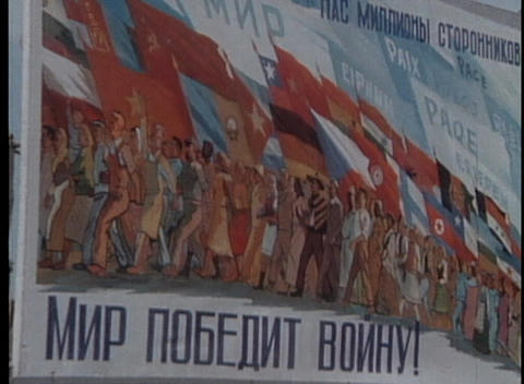 A revolutionary Communist poster graces 1970's Soviet Union Stock Video Footage