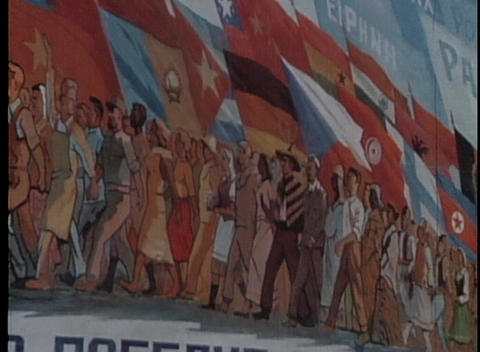 A revolutionary Communist poster graces 1970's Soviet Union Footage